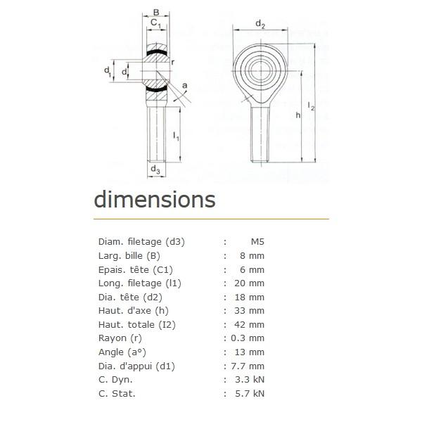 ROTULE MALE 5 mm A GAUCHE RM5L
