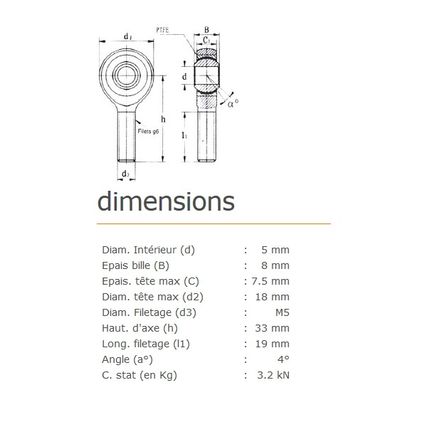 ROTULE MALE 5 mm A DROITE RM5SS