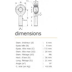 ROTULE MALE 6 mm A DROITE RM6SS