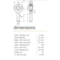 ROTULE MALE 8 mm A DROITE RM8SS