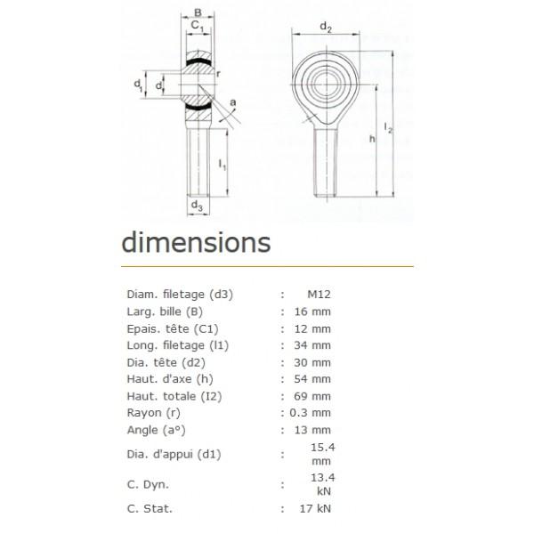 ROTULE MALE 12 mm A DROITE RM12