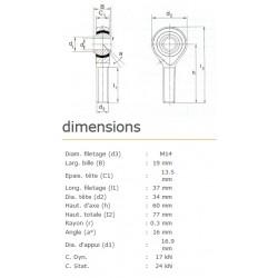 ROTULE MALE 14 mm A DROITE RM14