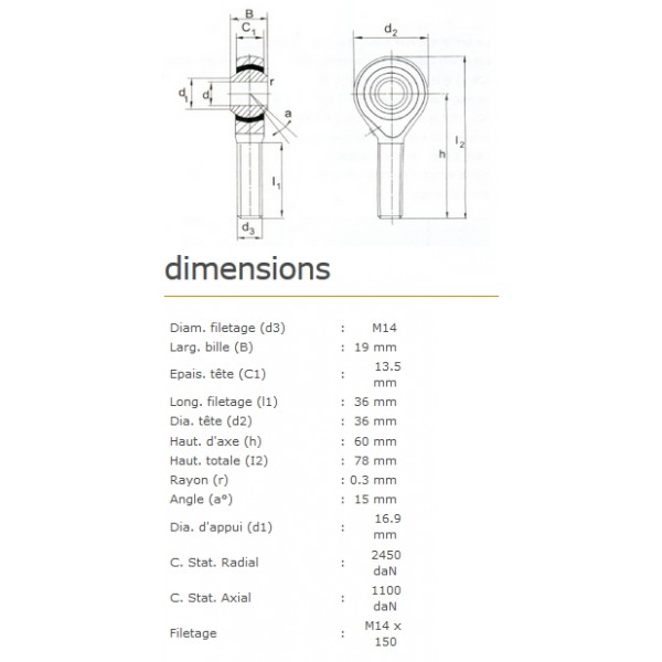 ROTULE MALE 14 mm A GAUCHE RM14Lx150