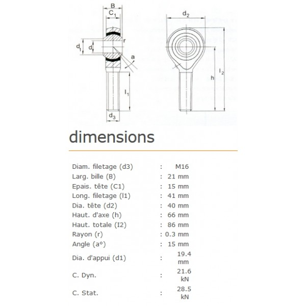 ROTULE MALE 16 mm A DROITE RM16x150