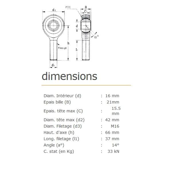 ROTULE MALE 16 mm A DROITE RM16SS