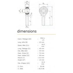 ROTULE MALE 18 mm A DROITE RM18