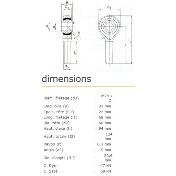 ROTULE MALE 25 mm A DROITE RM25