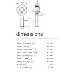 ROTULE MALE 25 mm A DROITE RM25SS