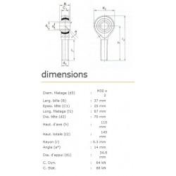 ROTULE MALE 30 mm A DROITE RM30