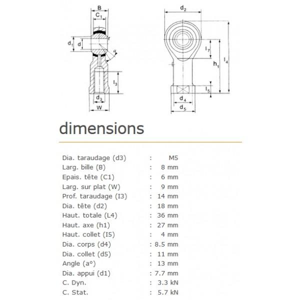 ROTULE FEMELLE 5 mm A DROITE RF5