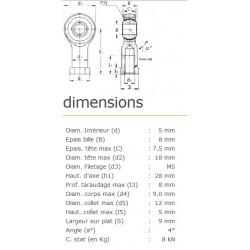 ROTULE FEMELLE 5 mm A GAUCHE RF5LSS