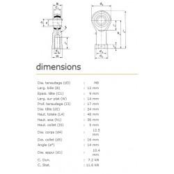 ROTULE FEMELLE 8 mm A GAUCHE RF8L