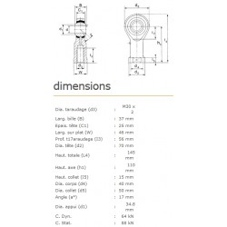 ROTULE FEMELLE 30 mm A DROITE RF30
