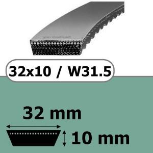 COURROIE VARIATEUR 32x10x1750 = 1800W31.5