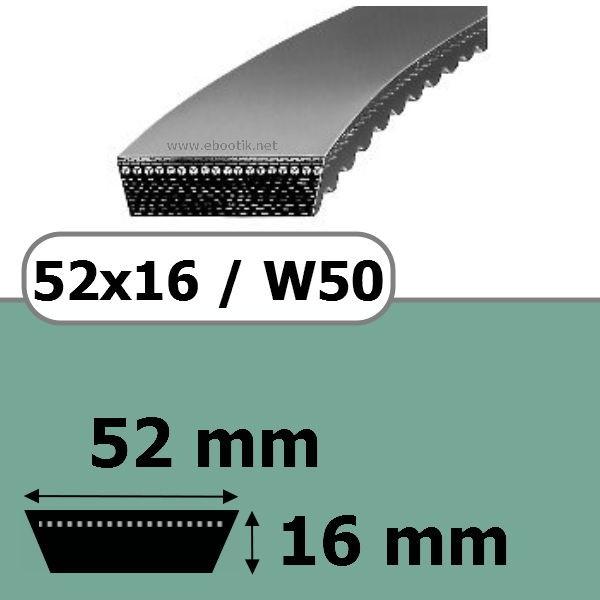 COURROIE VARIATEUR 52x16x1180 = 1250W50