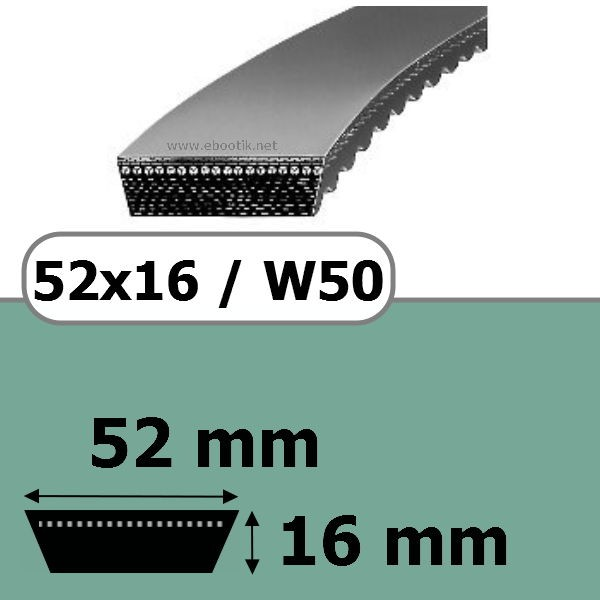 COURROIE VARIATEUR 52x16x1725 = 1800W50