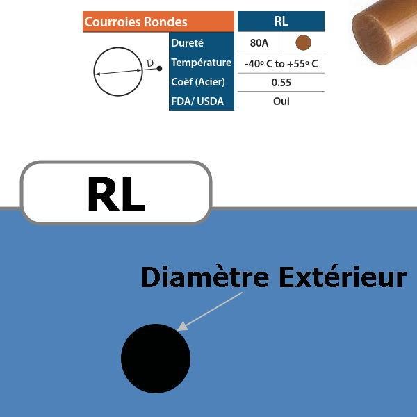 Courroie ronde RL brun 80 Shores DIAMETRE 15 mm