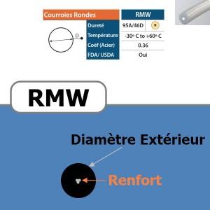 Courroie ronde RMW armée beige 95 Shores DIAMETRE 18 mm