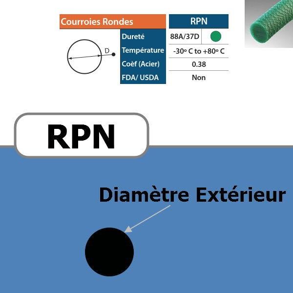 Courroie ronde RPN verte rugueuse 88 Shores DIAMETRE 3 mm