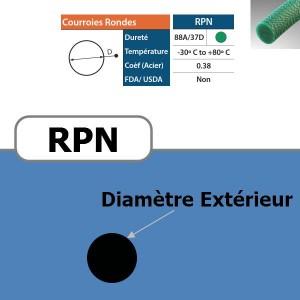 Courroie ronde RPN verte rugueuse 88 Shores DIAMETRE 15 mm