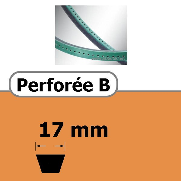 COURROIE TRAPEZOIDALE PERFOREE B 17 x 11 mm
