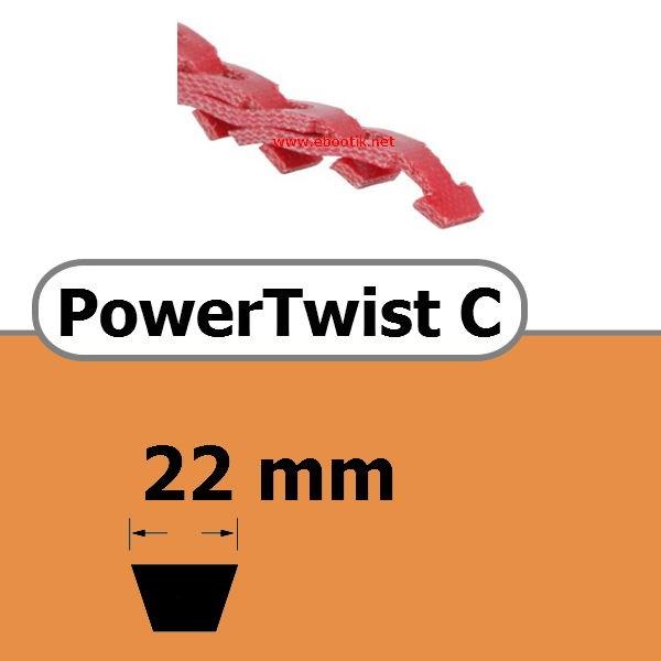 COURROIE TRAPEZOIDALE A MAILLONS POWER TWIST SANS RIVETS METALLIQUE C 22 x 14 mm