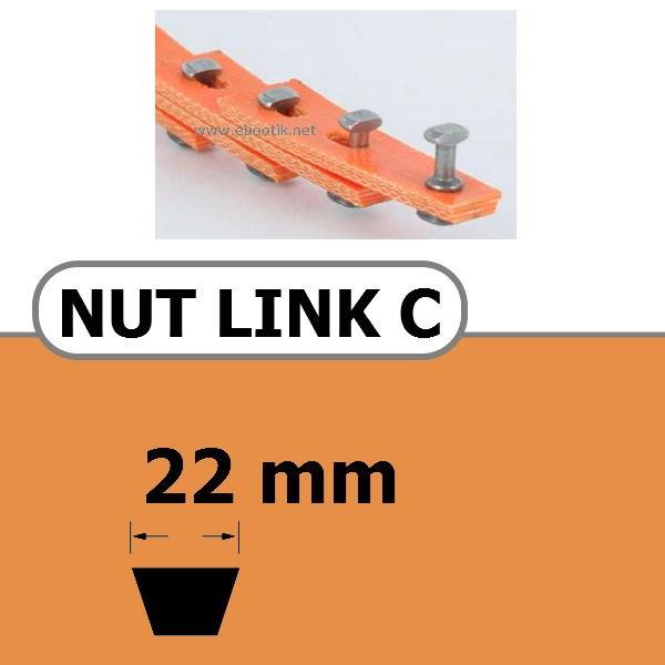 COURROIE TRAPEZOIDALE A MAILLONS NUT LINK AVEC RIVETS METALLIQUE C 22 x 14 mm