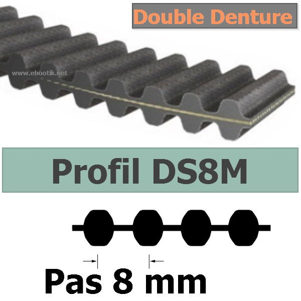 COURROIE CRANTEE DS8M2600-20 mm DOUBLE DENTURE