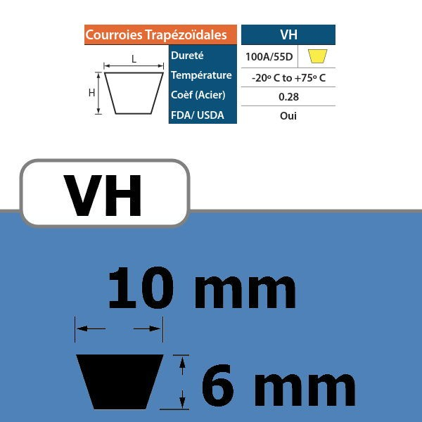 COURROIE TRAPEZOIDALE VH10 THERMOSOUDABLE