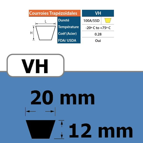 COURROIE TRAPEZOIDALE VH20 THERMOSOUDABLE