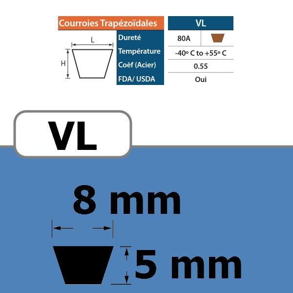 COURROIE TRAPEZOIDALE VL8 THERMOSOUDABLE