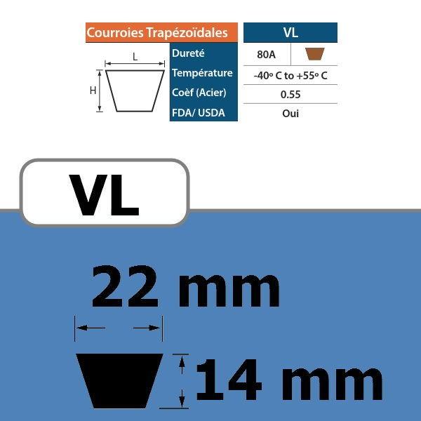COURROIE TRAPEZOIDALE VL22 THERMOSOUDABLE
