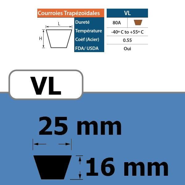 COURROIE TRAPEZOIDALE VL25 THERMOSOUDABLE