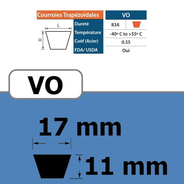 COURROIE TRAPEZOIDALE VO17 THERMOSOUDABLE