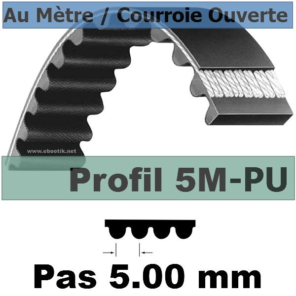 Courroie Crantée/Linéaire 5M25 POLYURETHANE Vendue au mètre