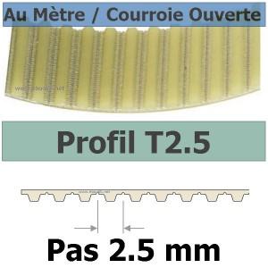Courroie Crantée/Linéaire T2.5-6 POLYURETHANE Vendue au mètre