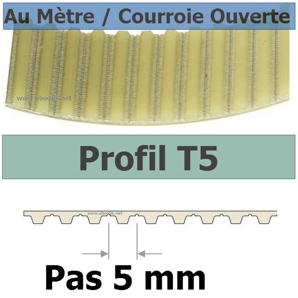 Courroie Crantée/Linéaire T5-10 KEVLAR POLYURETHANE Vendue au mètre