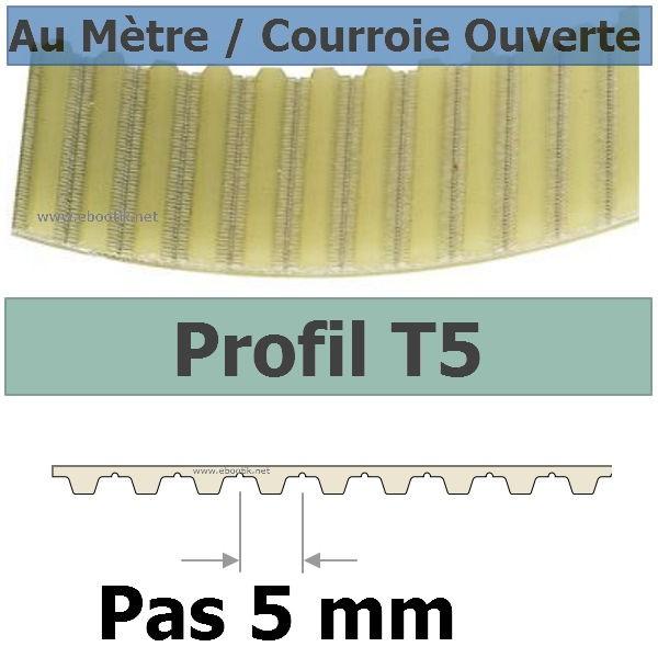 Courroie Crantée/Linéaire T5-25+PAR/PAZ POLYURETHANE Vendue au mètre