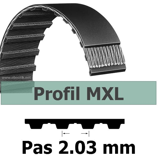 COURROIE DENTEE 88MXL025 PAS 2.032 mm / LARGEUR 6.35 mm