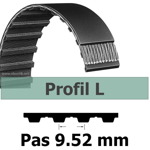 COURROIE DENTEE 109L075 PAS 9.52 mm / LARGEUR 19.05 mm