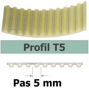 COURROIE CRANTEE 1000T5/25 mm