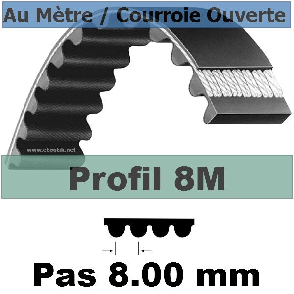 Courroie Crantée/Linéaire 8M40 mm Fibre Verre Vendue au mètre