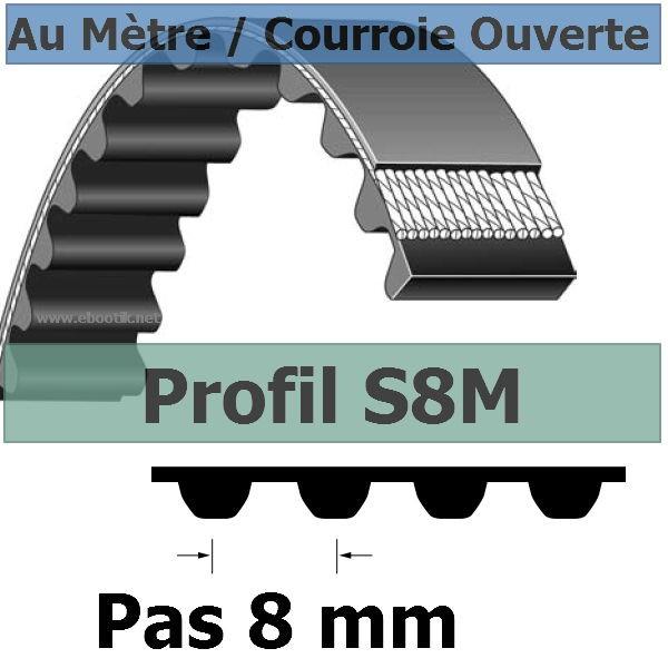 Courroie Crantée/Linéaire S8M12 mm Fibre Verre Vendue au mètre