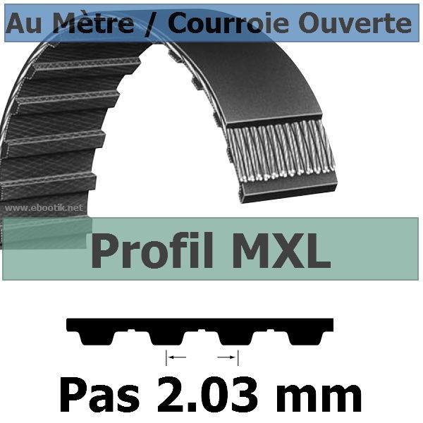 Courroie Crantée/Linéaire MXL025 / 6.35 mm Fibre Verre Vendue au mètre