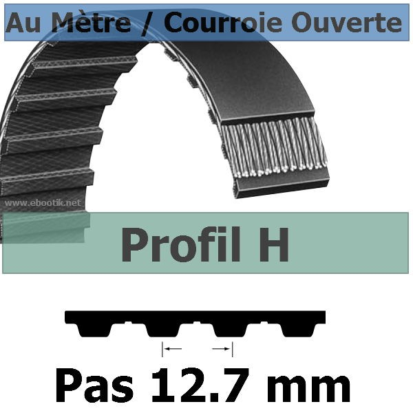 Courroie Crantée/Linéaire H050 / 12.70 mm Fibre Verre Vendue au mètre