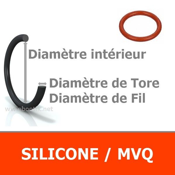 JOINT TORIQUE 1.25x2.62 mm SILICONE 60 SHORES AS 102
