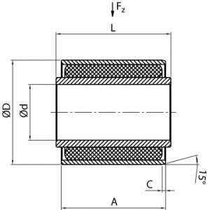 ARTICULATION VULCANISEE 8x22x10 mm